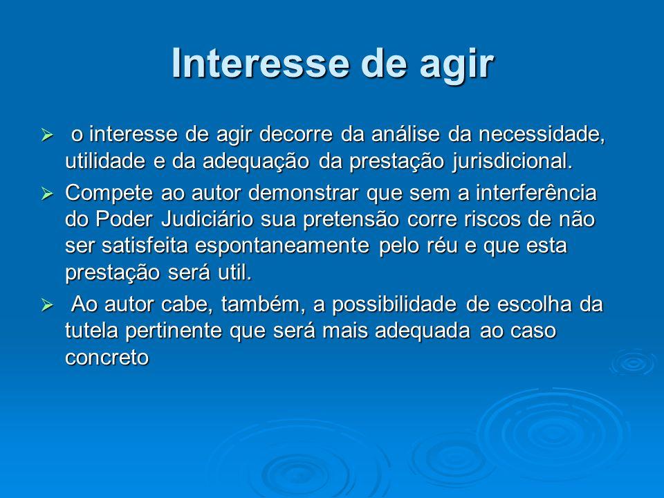 Interesse de agir o interesse de agir decorre da análise da necessidade, utilidade e da adequação da prestação jurisdicional.