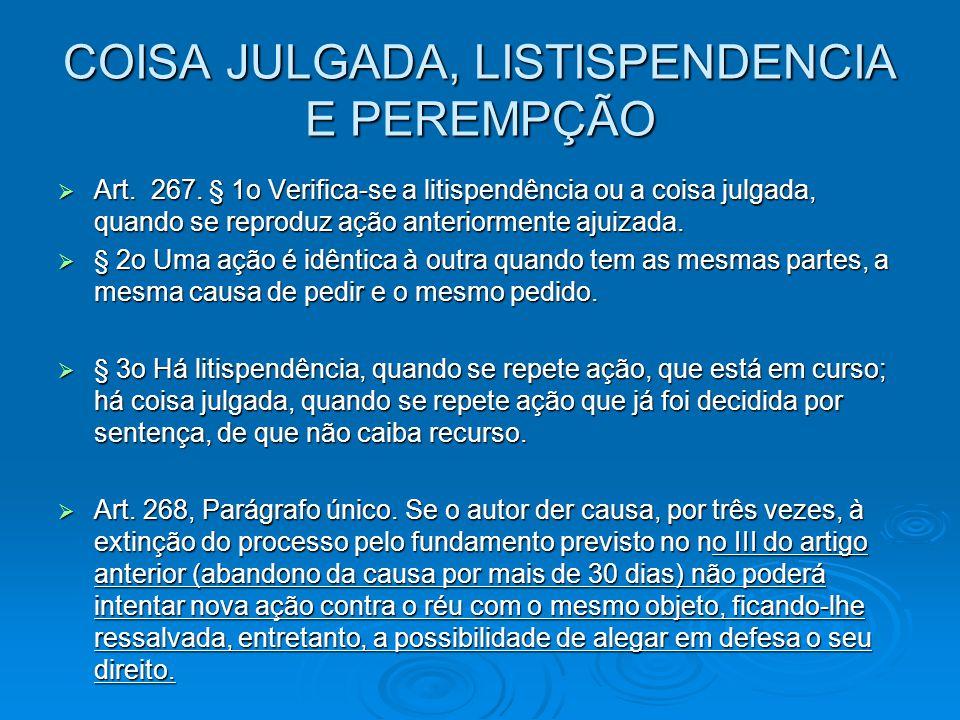 COISA JULGADA, LISTISPENDENCIA E PEREMPÇÃO