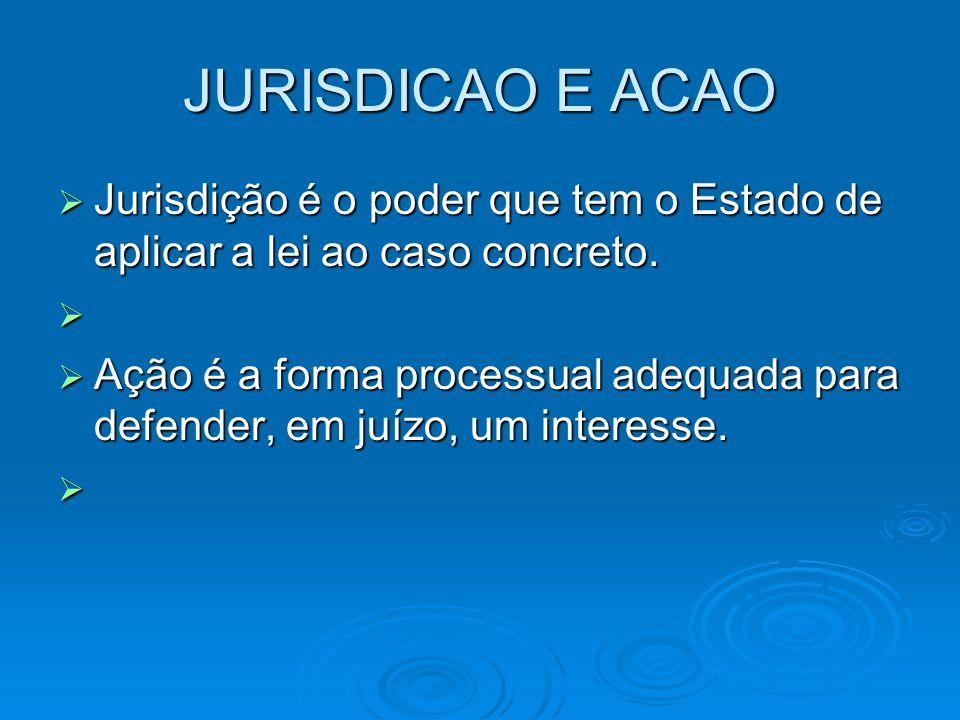 JURISDICAO E ACAO Jurisdição é o poder que tem o Estado de aplicar a lei ao caso concreto.