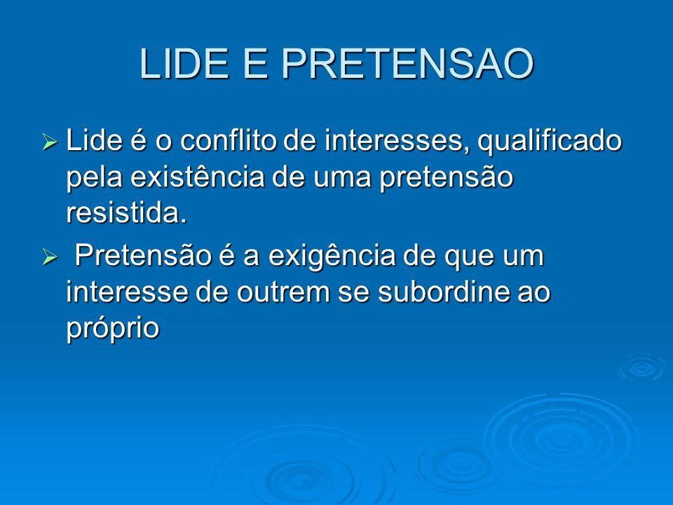 LIDE E PRETENSAO Lide é o conflito de interesses, qualificado pela existência de uma pretensão resistida.