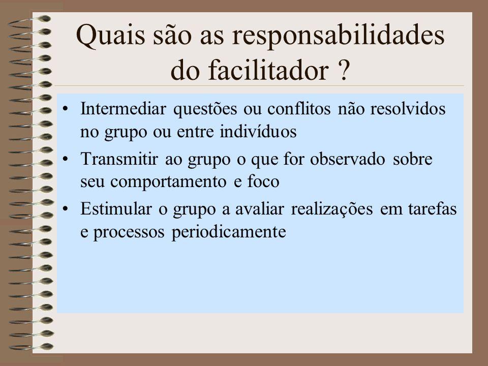 Quais são as responsabilidades do facilitador