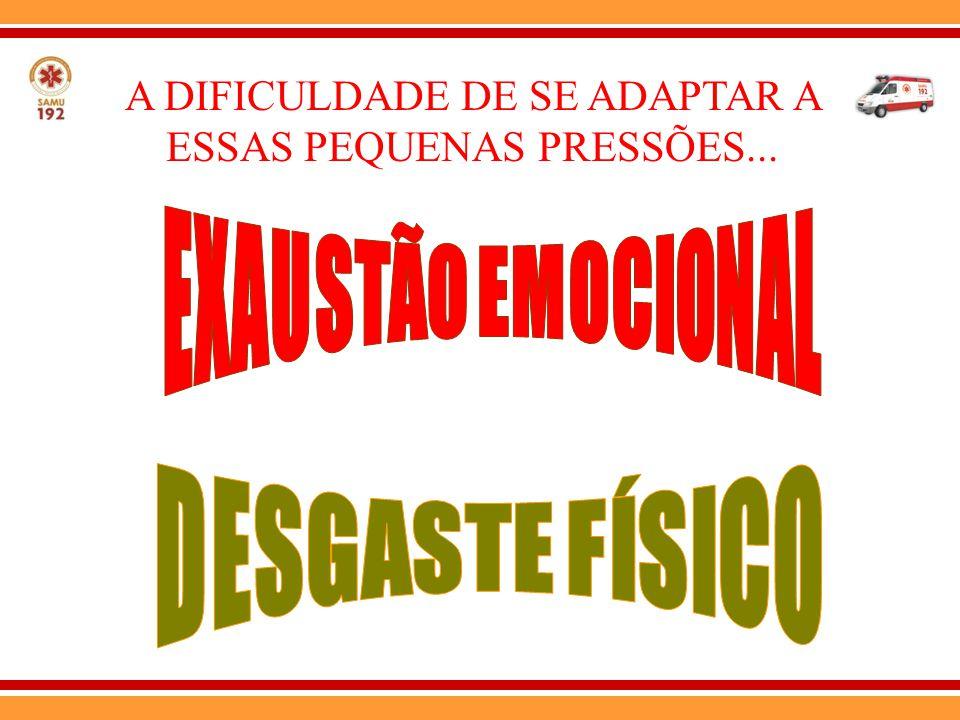 A DIFICULDADE DE SE ADAPTAR A ESSAS PEQUENAS PRESSÕES...