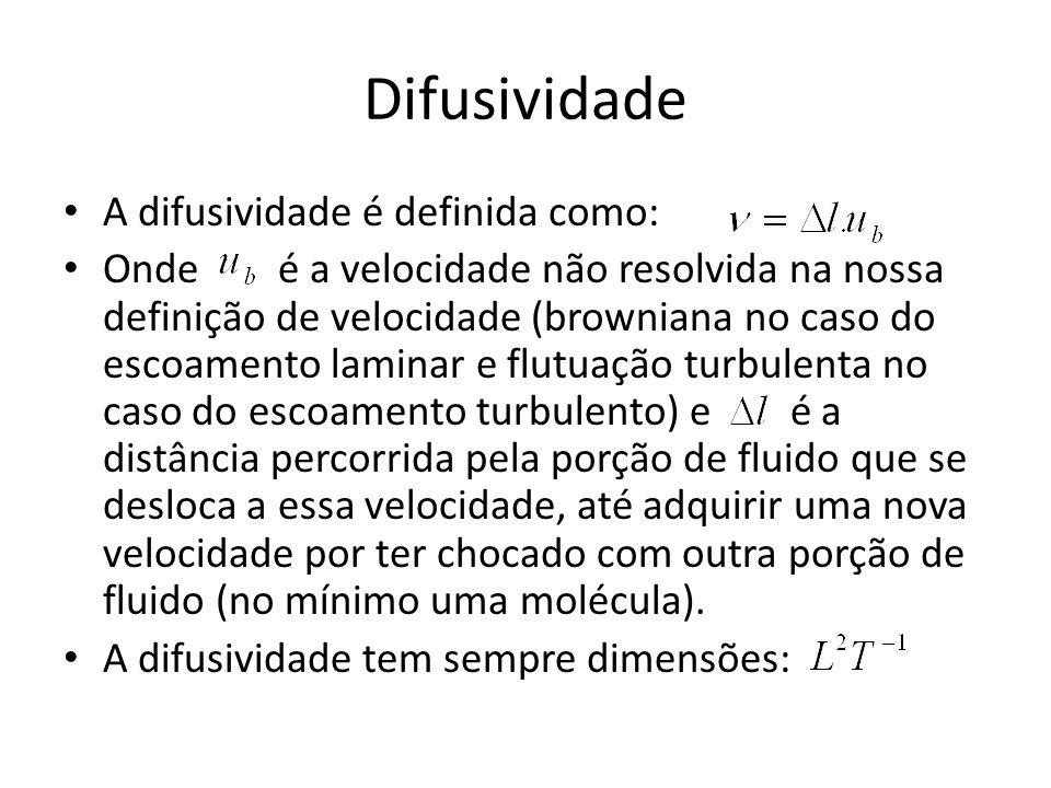 Difusividade A difusividade é definida como:
