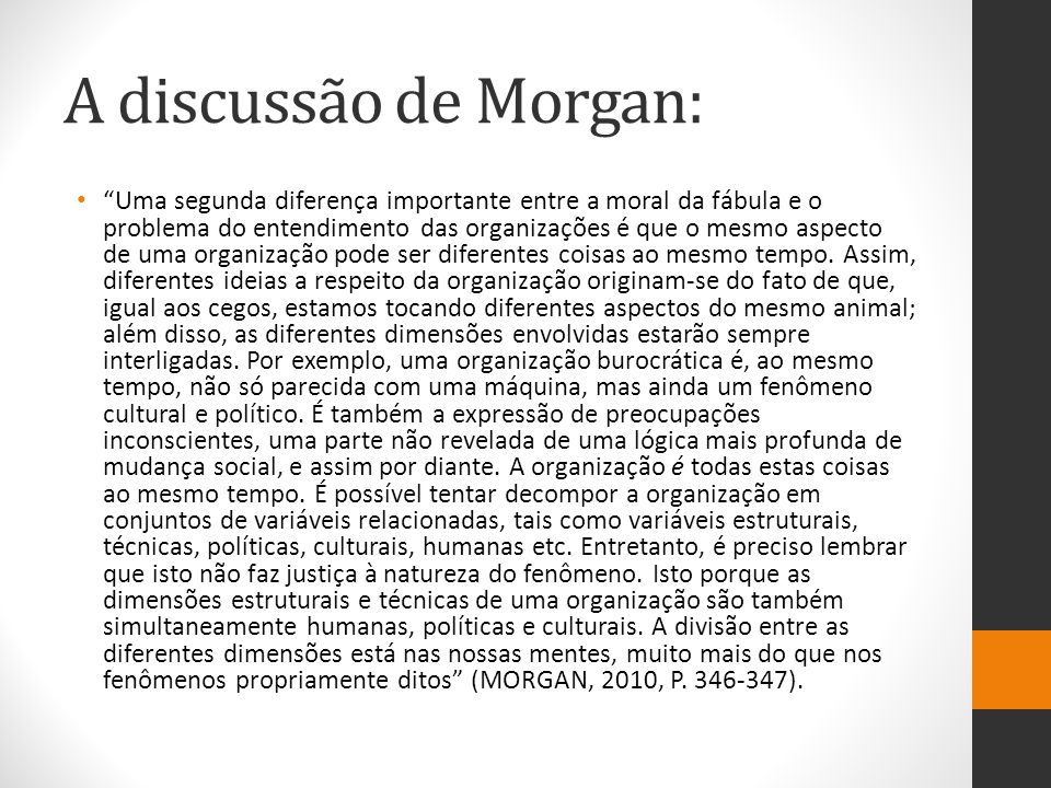 A discussão de Morgan: