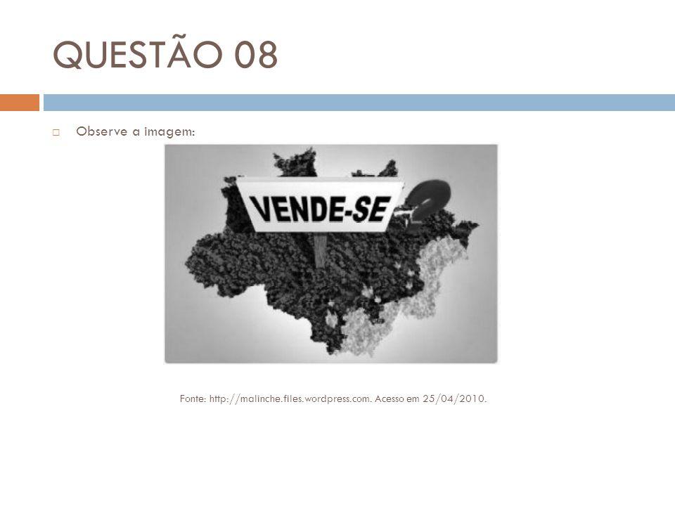 QUESTÃO 08 Observe a imagem: