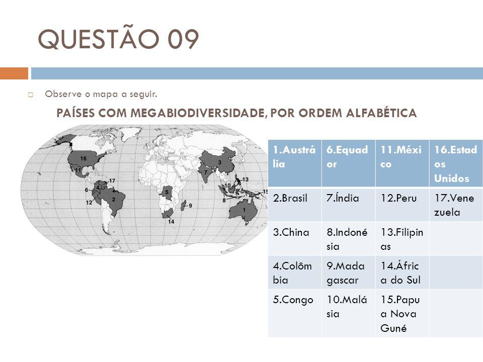 QUESTÃO 09 PAÍSES COM MEGABIODIVERSIDADE, POR ORDEM ALFABÉTICA