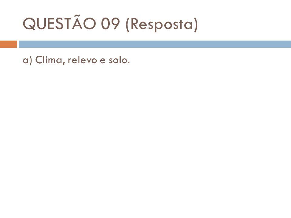 QUESTÃO 09 (Resposta) a) Clima, relevo e solo.