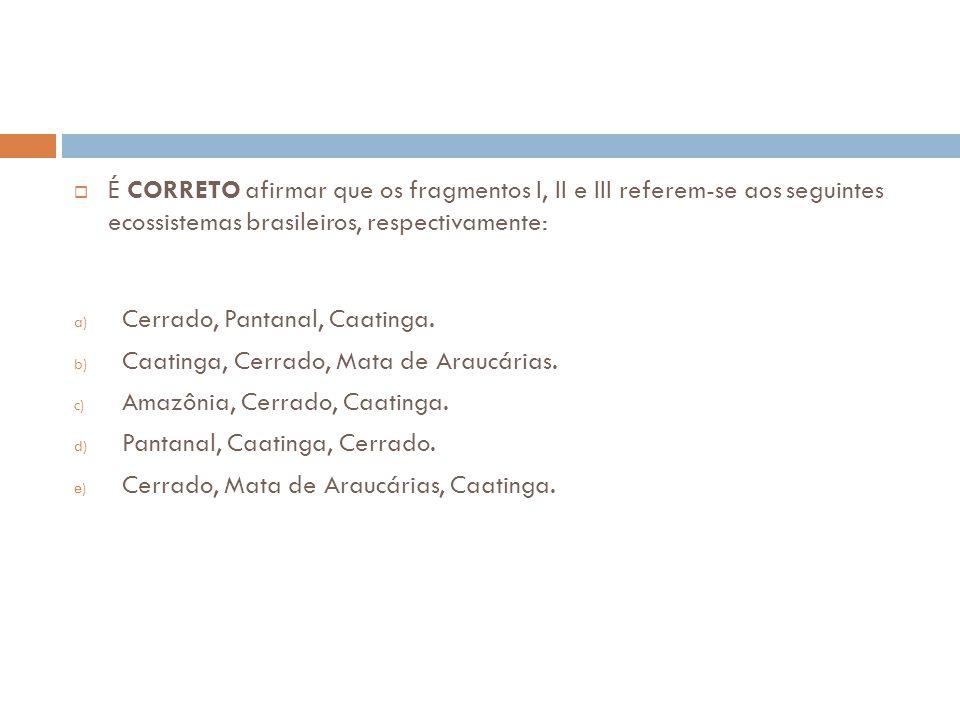 É CORRETO afirmar que os fragmentos I, II e III referem-se aos seguintes ecossistemas brasileiros, respectivamente: