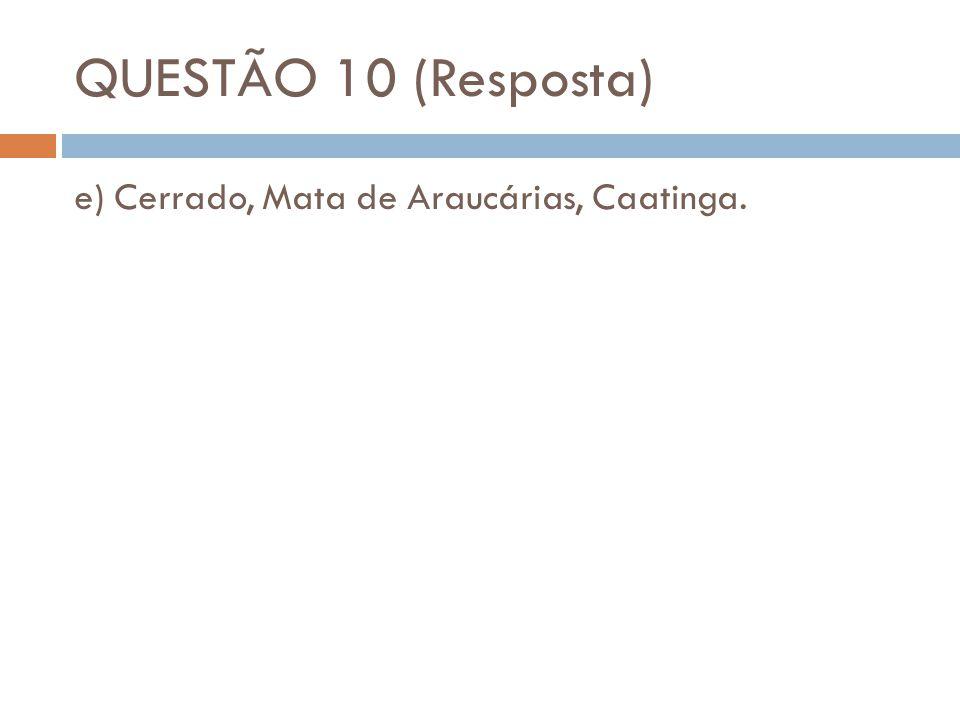 QUESTÃO 10 (Resposta) e) Cerrado, Mata de Araucárias, Caatinga.