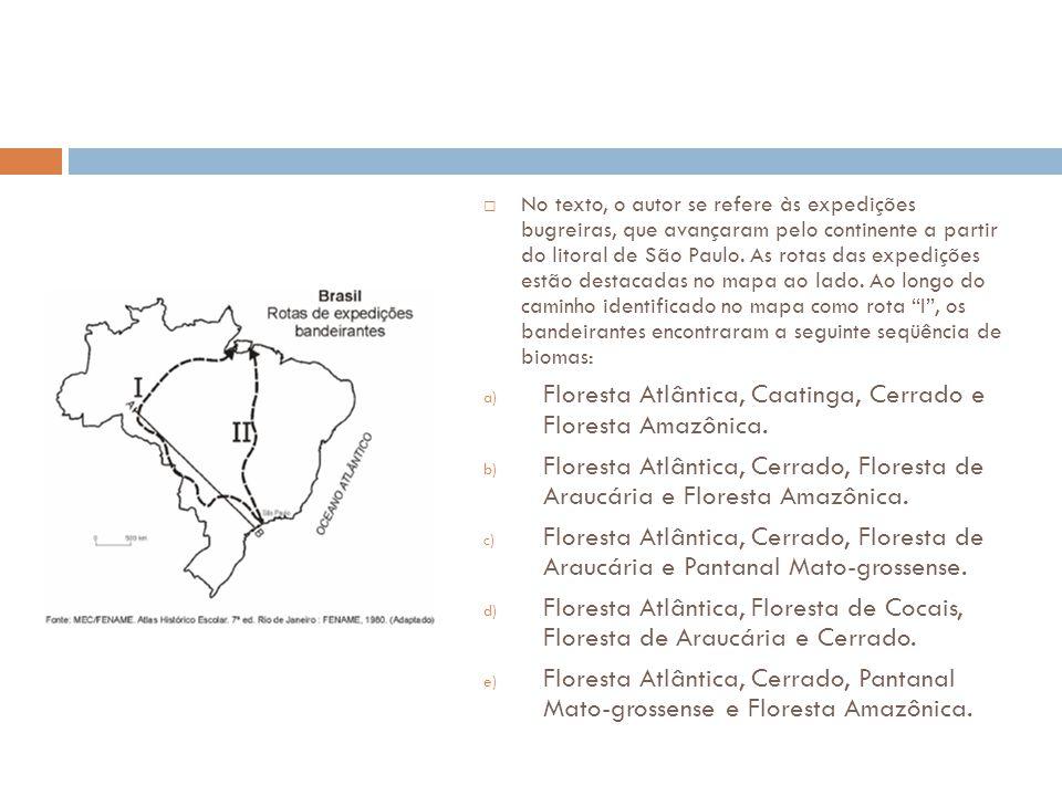 Floresta Atlântica, Caatinga, Cerrado e Floresta Amazônica.