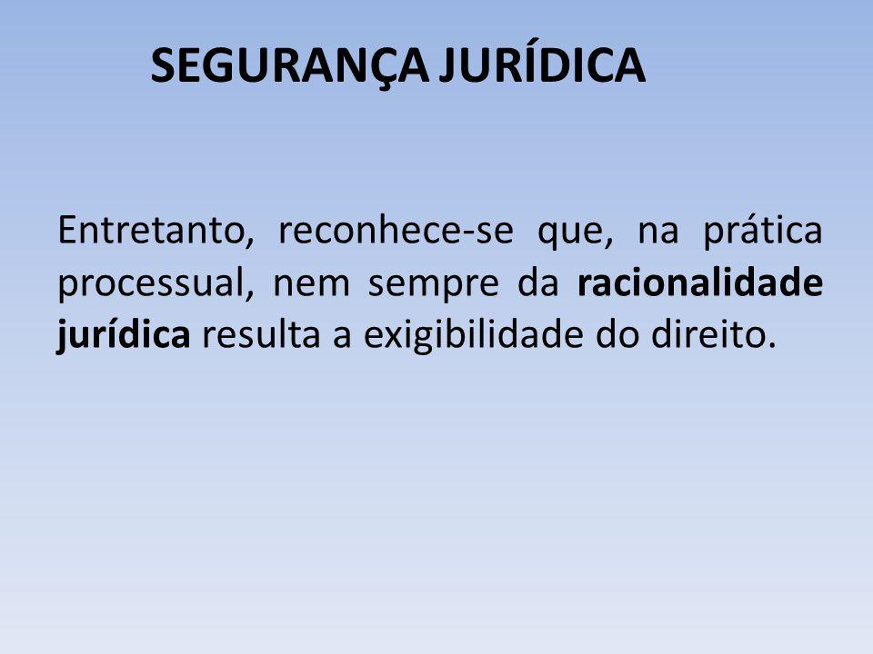 SEGURANÇA JURÍDICA Entretanto, reconhece-se que, na prática processual, nem sempre da racionalidade jurídica resulta a exigibilidade do direito.