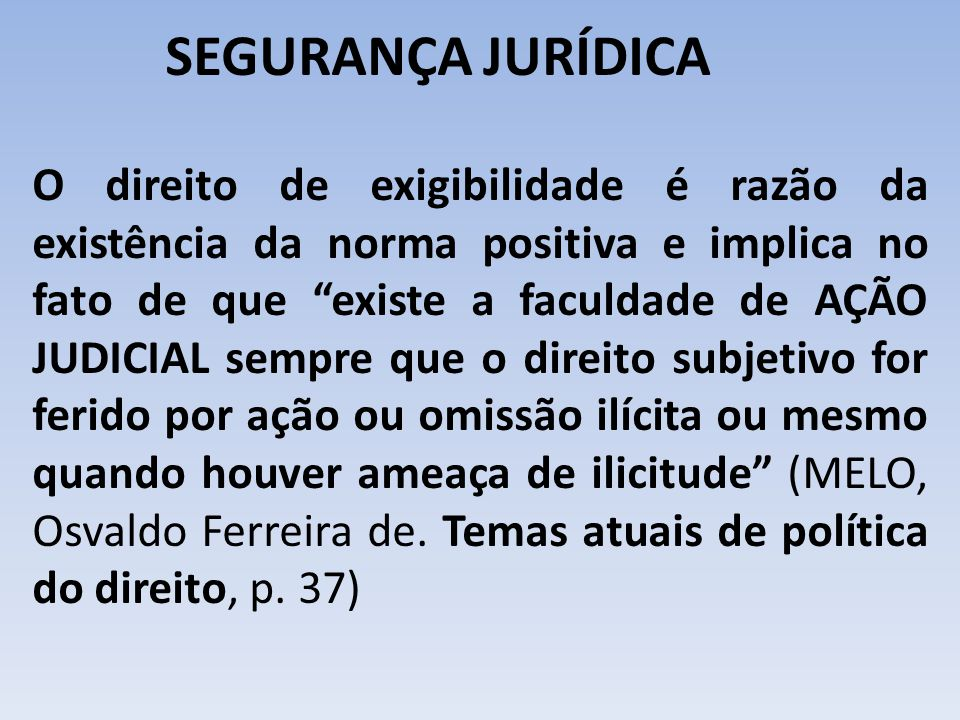 SEGURANÇA JURÍDICA