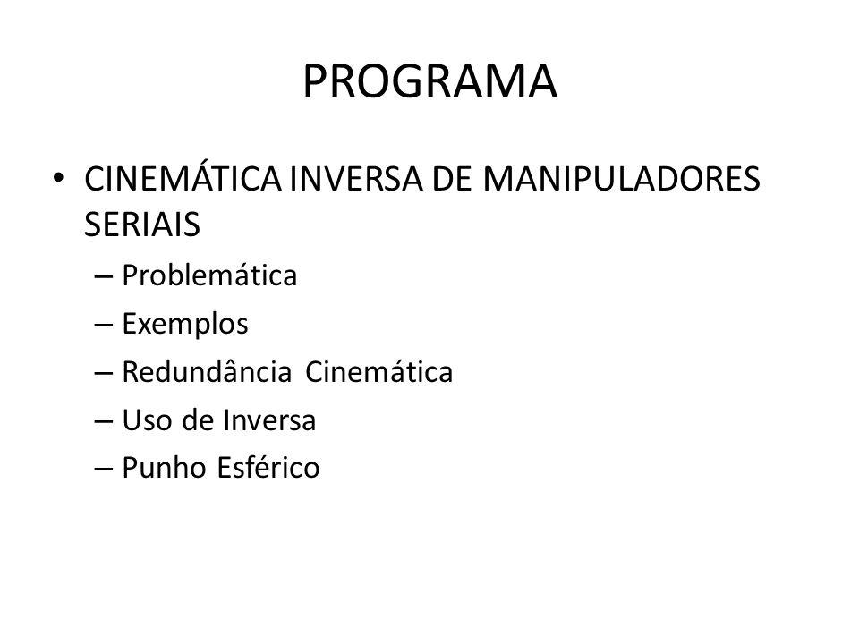 PROGRAMA CINEMÁTICA INVERSA DE MANIPULADORES SERIAIS Problemática