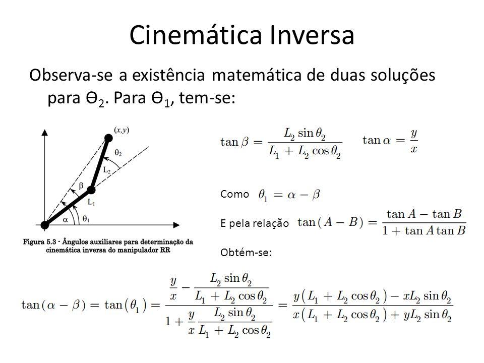 Cinemática Inversa Observa-se a existência matemática de duas soluções para Ө2. Para Ө1, tem-se: Como.