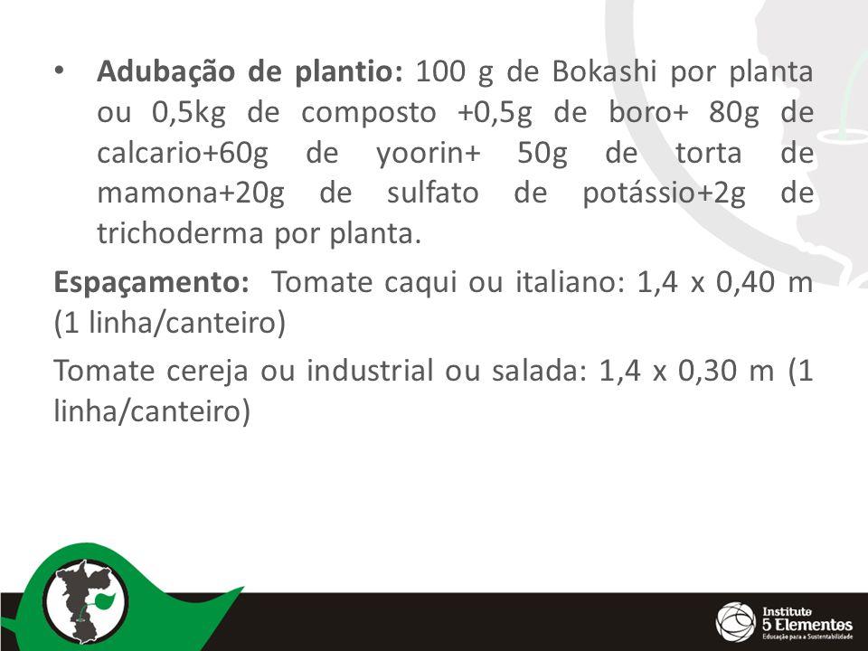 Adubação de plantio: 100 g de Bokashi por planta ou 0,5kg de composto +0,5g de boro+ 80g de calcario+60g de yoorin+ 50g de torta de mamona+20g de sulfato de potássio+2g de trichoderma por planta.