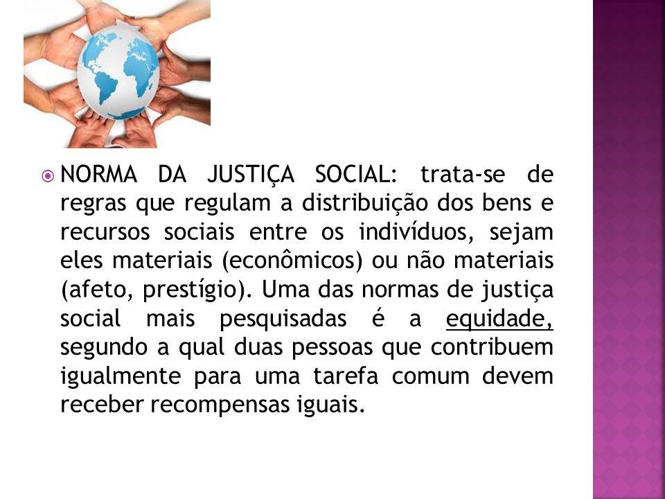 NORMA DA JUSTIÇA SOCIAL: trata-se de regras que regulam a distribuição dos bens e recursos sociais entre os indivíduos, sejam eles materiais (econômicos) ou não materiais (afeto, prestígio).
