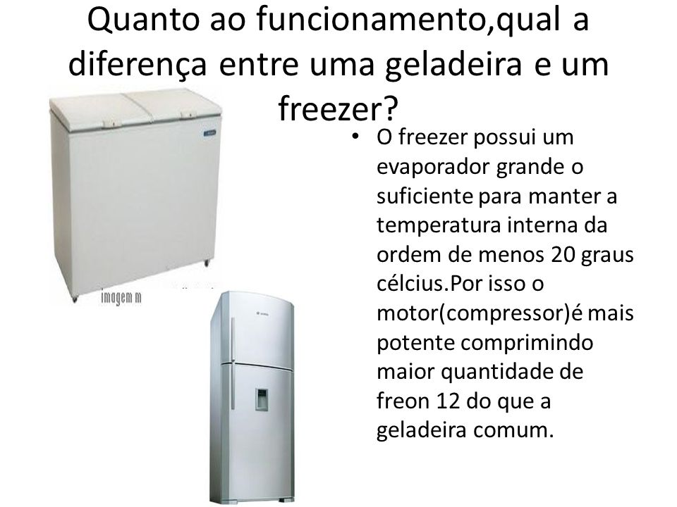 Quanto ao funcionamento,qual a diferença entre uma geladeira e um freezer