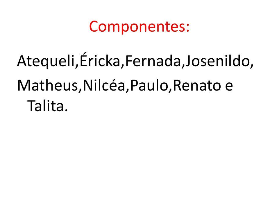 Componentes: Atequeli,Éricka,Fernada,Josenildo, Matheus,Nilcéa,Paulo,Renato e Talita.