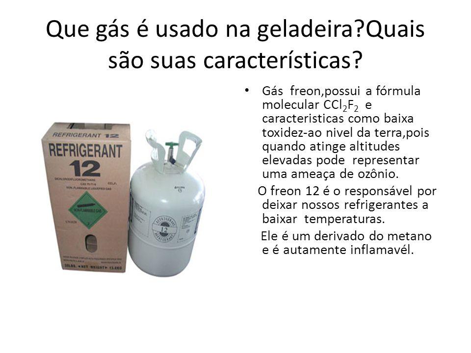 Que gás é usado na geladeira Quais são suas características