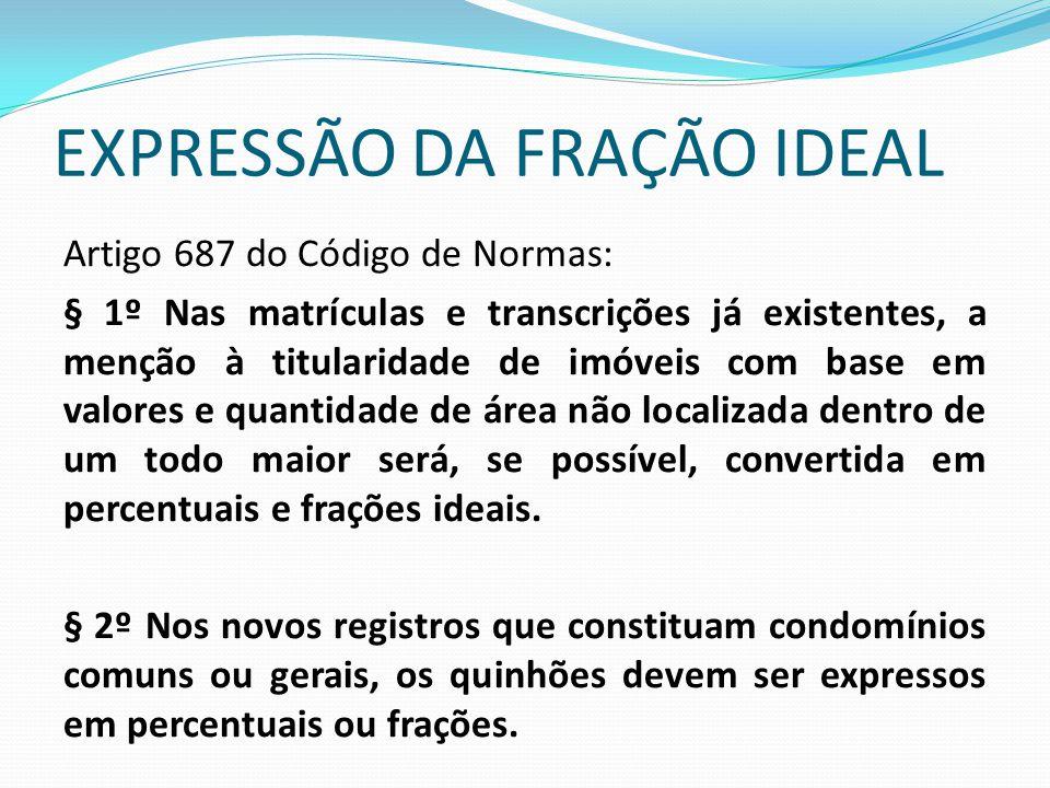 EXPRESSÃO DA FRAÇÃO IDEAL