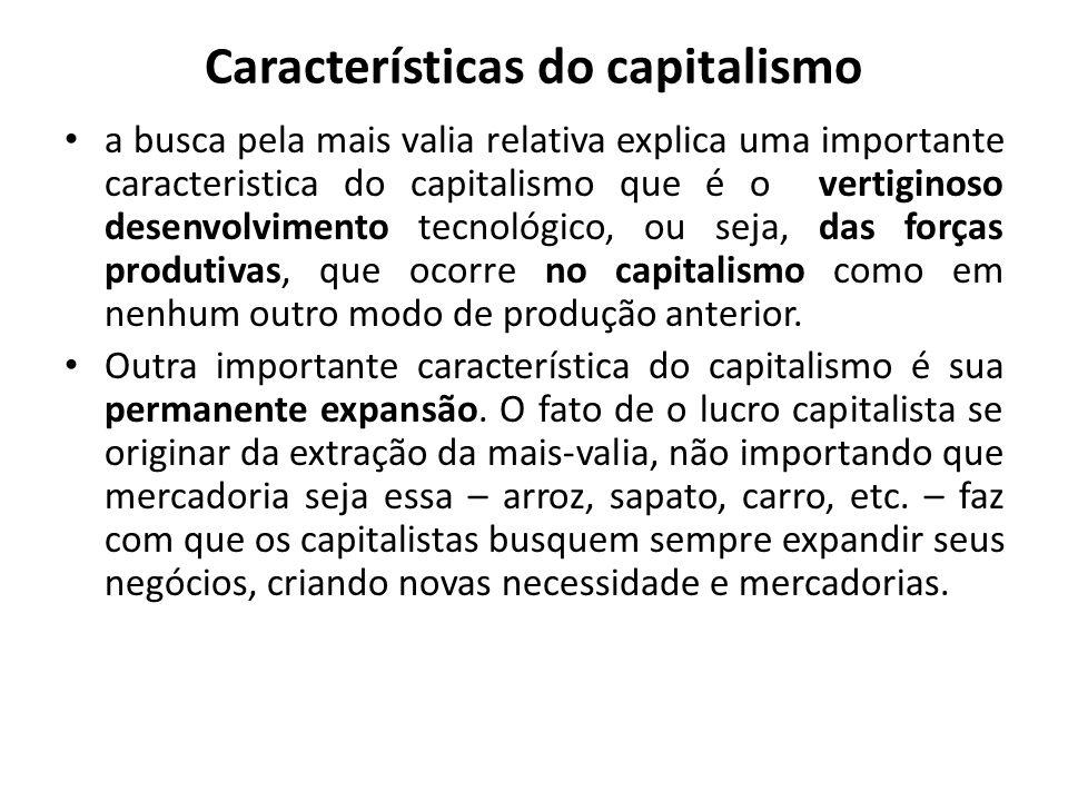Características do capitalismo