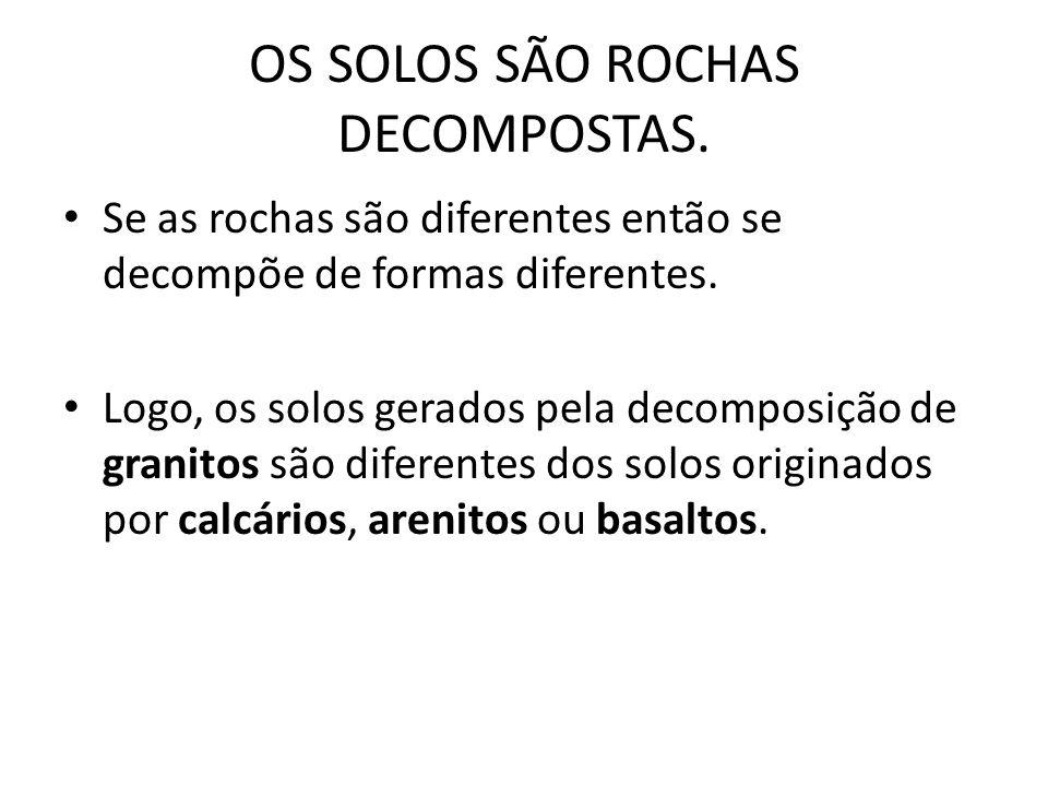 OS SOLOS SÃO ROCHAS DECOMPOSTAS.