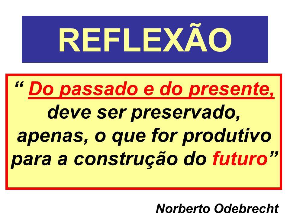 REFLEXÃO Do passado e do presente, deve ser preservado, apenas, o que for produtivo para a construção do futuro