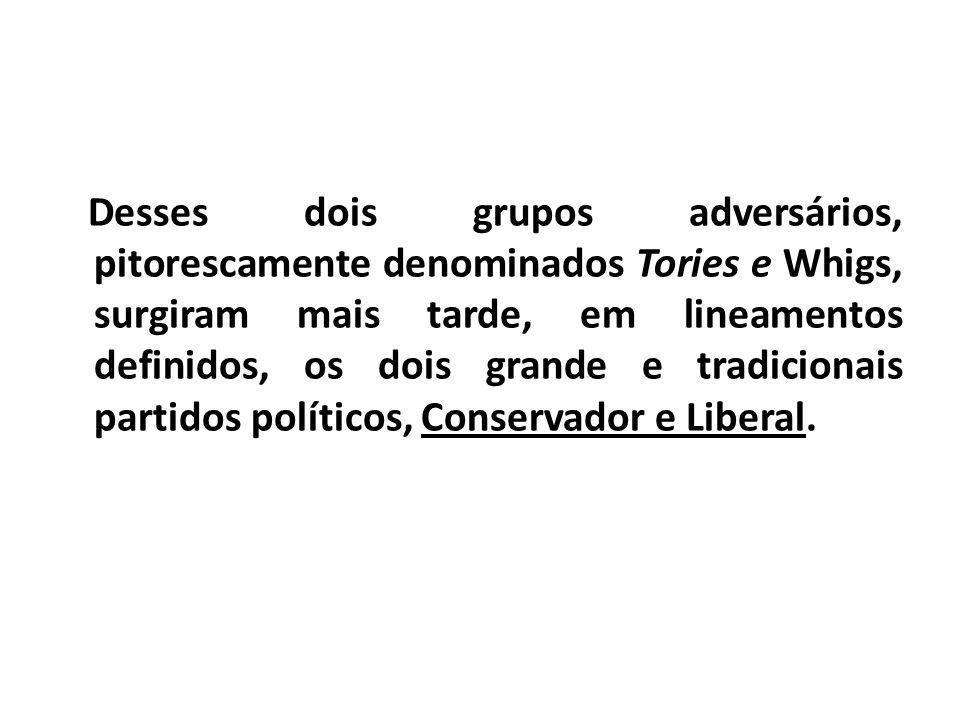 Desses dois grupos adversários, pitorescamente denominados Tories e Whigs, surgiram mais tarde, em lineamentos definidos, os dois grande e tradicionais partidos políticos, Conservador e Liberal.