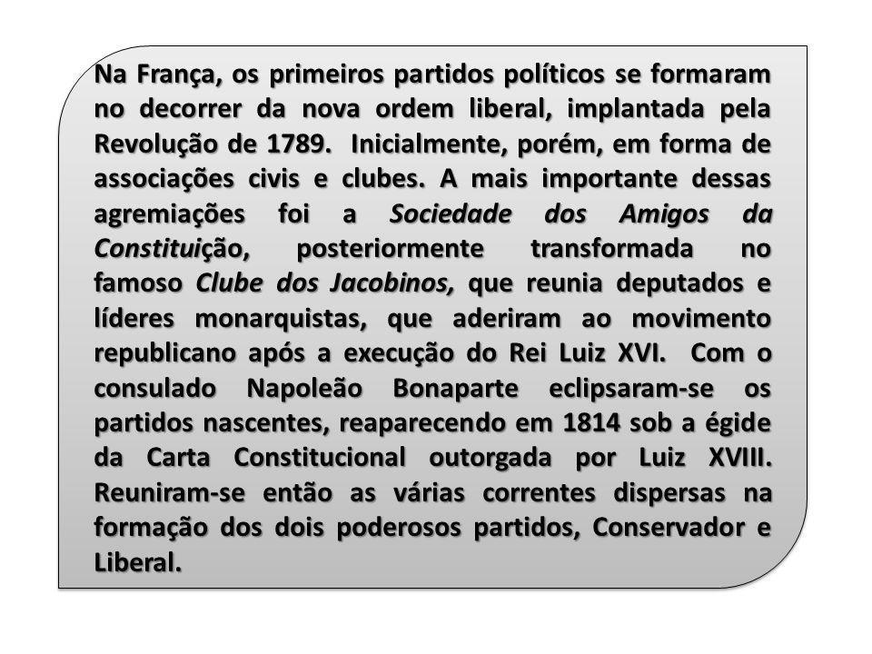 Na França, os primeiros partidos políticos se formaram no decorrer da nova ordem liberal, implantada pela Revolução de 1789. Inicialmente, porém, em forma de associações civis e clubes.