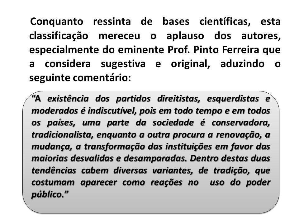 Conquanto ressinta de bases científicas, esta classificação mereceu o aplauso dos autores, especialmente do eminente Prof. Pinto Ferreira que a considera sugestiva e original, aduzindo o seguinte comentário: