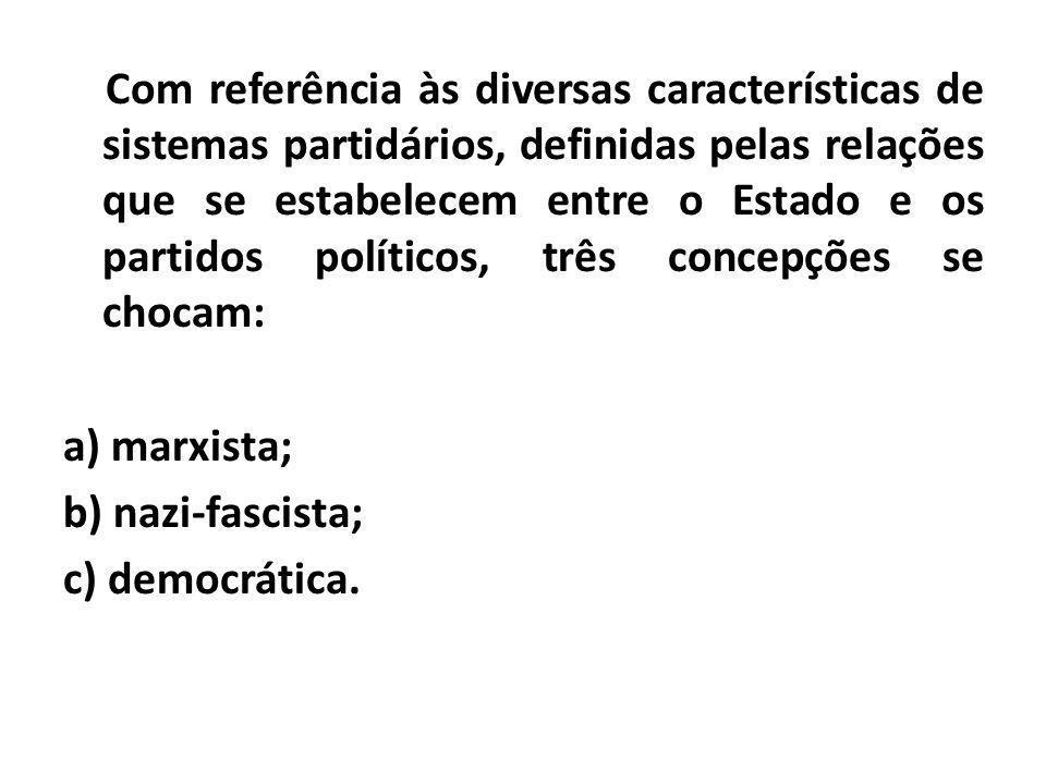 Com referência às diversas características de sistemas partidários, definidas pelas relações que se estabelecem entre o Estado e os partidos políticos, três concepções se chocam:
