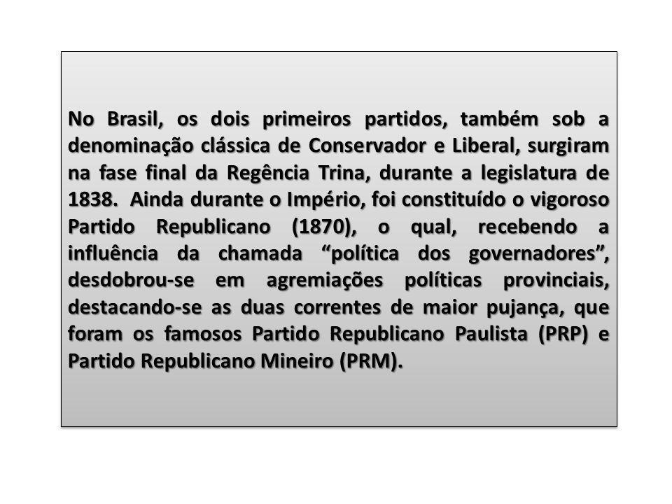 No Brasil, os dois primeiros partidos, também sob a denominação clássica de Conservador e Liberal, surgiram na fase final da Regência Trina, durante a legislatura de 1838. Ainda durante o Império, foi constituído o vigoroso Partido Republicano (1870), o qual, recebendo a influência da chamada política dos governadores , desdobrou-se em agremiações políticas provinciais, destacando-se as duas correntes de maior pujança, que foram os famosos Partido Republicano Paulista (PRP) e Partido Republicano Mineiro (PRM).