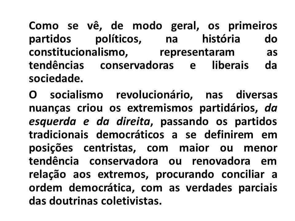 Como se vê, de modo geral, os primeiros partidos políticos, na história do constitucionalismo, representaram as tendências conservadoras e liberais da sociedade.