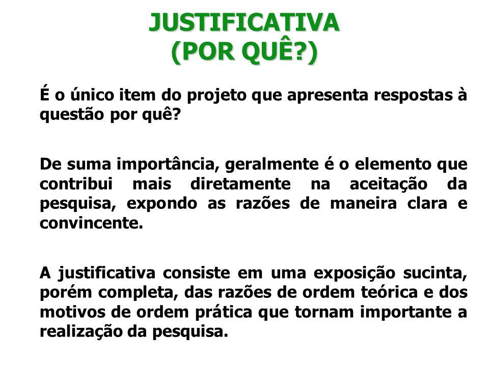 JUSTIFICATIVA (POR QUÊ )