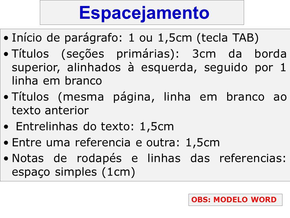 Espacejamento Início de parágrafo: 1 ou 1,5cm (tecla TAB)