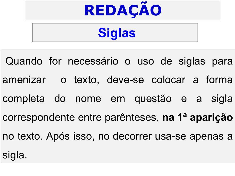 REDAÇÃO Siglas.