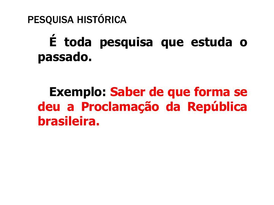 Pesquisa Histórica É toda pesquisa que estuda o passado.