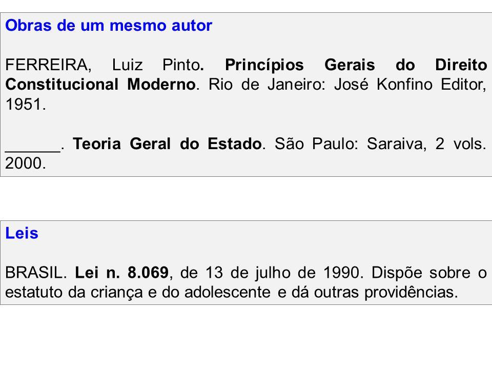 Obras de um mesmo autor FERREIRA, Luiz Pinto. Princípios Gerais do Direito Constitucional Moderno. Rio de Janeiro: José Konfino Editor, 1951.