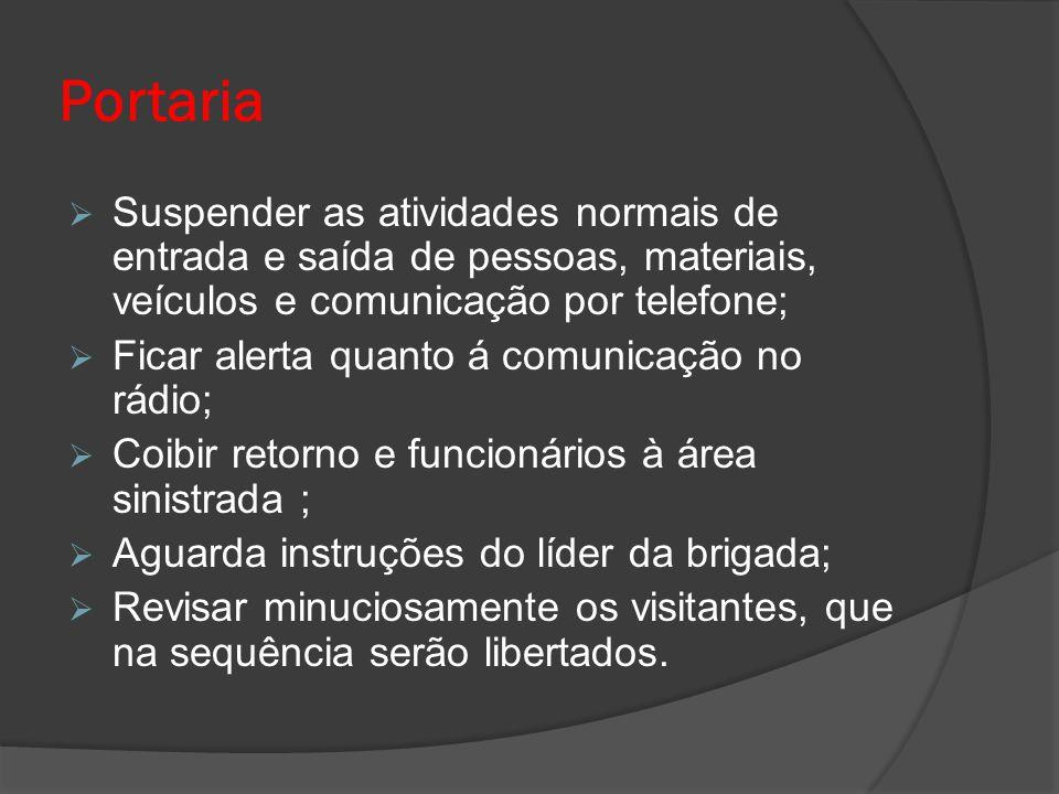 Portaria Suspender as atividades normais de entrada e saída de pessoas, materiais, veículos e comunicação por telefone;