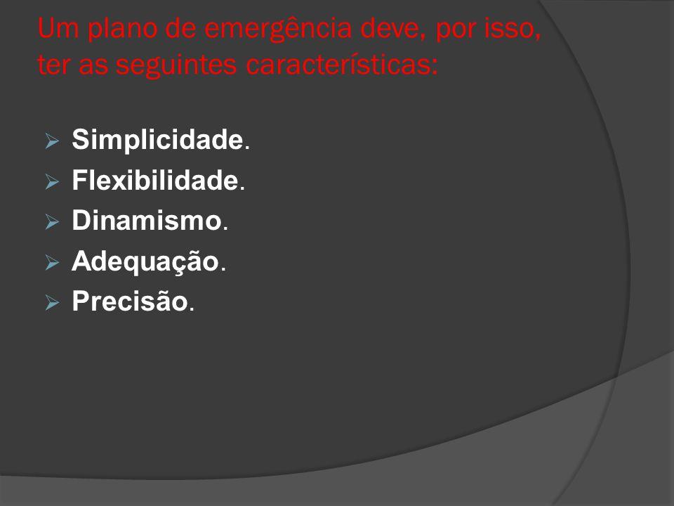 Um plano de emergência deve, por isso, ter as seguintes características: