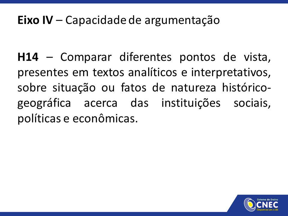 Eixo IV – Capacidade de argumentação H14 – Comparar diferentes pontos de vista, presentes em textos analíticos e interpretativos, sobre situação ou fatos de natureza histórico-geográfica acerca das instituições sociais, políticas e econômicas.