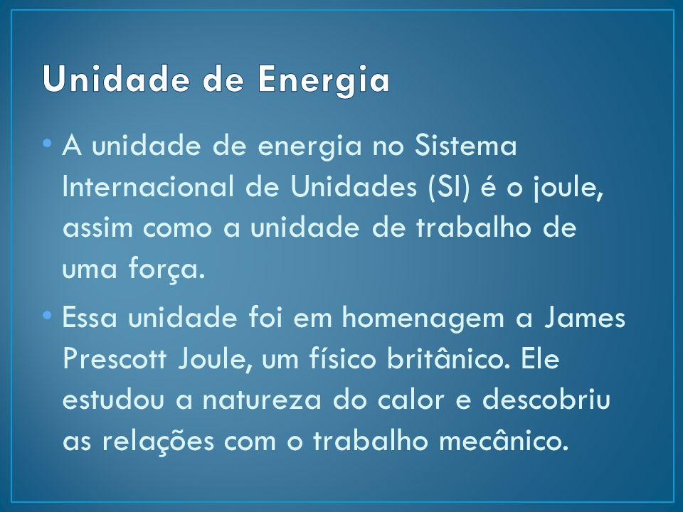 Unidade de Energia A unidade de energia no Sistema Internacional de Unidades (SI) é o joule, assim como a unidade de trabalho de uma força.