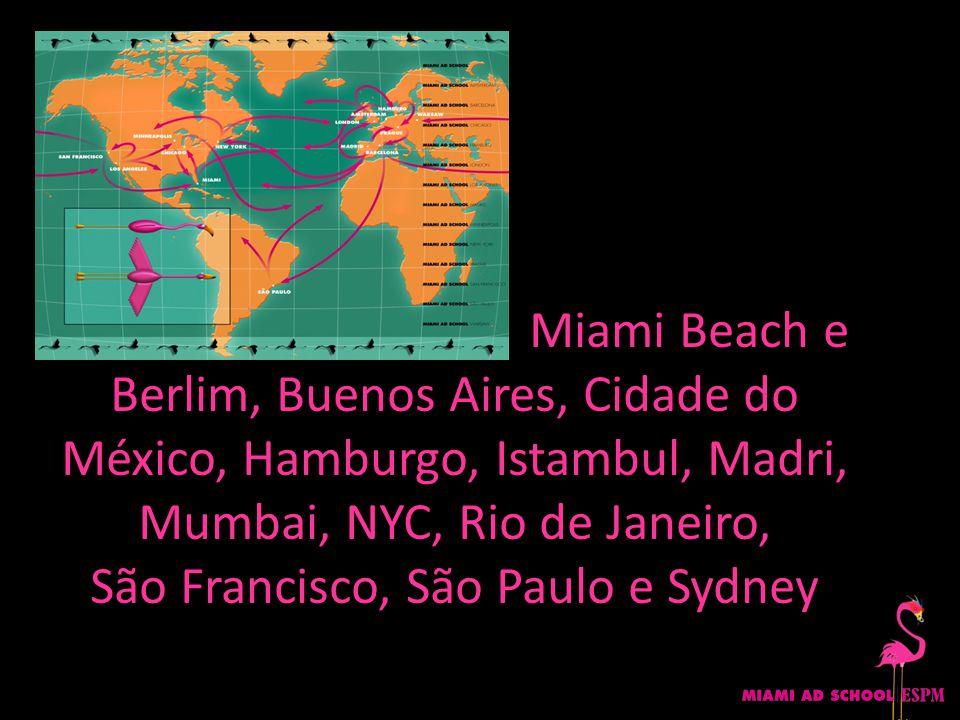 Miami Beach e Berlim, Buenos Aires, Cidade do México, Hamburgo, Istambul, Madri, Mumbai, NYC, Rio de Janeiro, São Francisco, São Paulo e Sydney