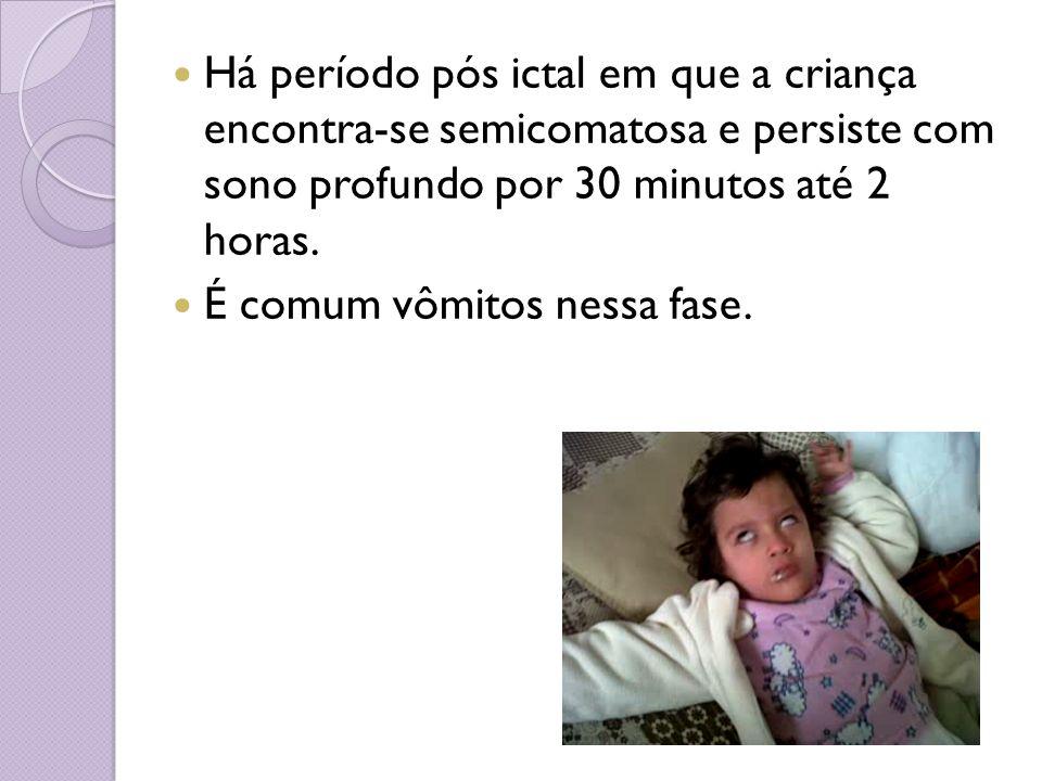 Há período pós ictal em que a criança encontra-se semicomatosa e persiste com sono profundo por 30 minutos até 2 horas.