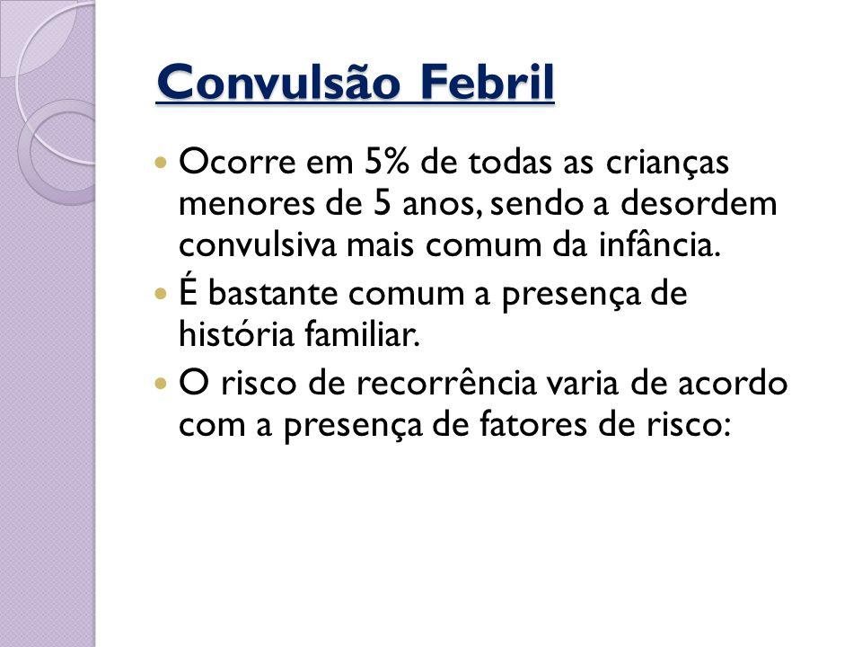 Convulsão Febril Ocorre em 5% de todas as crianças menores de 5 anos, sendo a desordem convulsiva mais comum da infância.