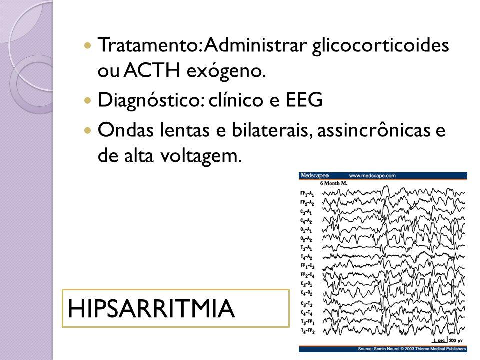 HIPSARRITMIA Tratamento: Administrar glicocorticoides ou ACTH exógeno.