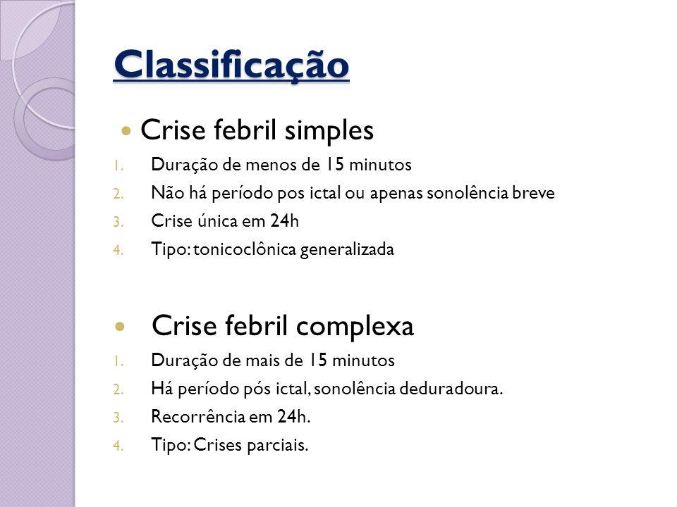 Classificação Crise febril simples Crise febril complexa