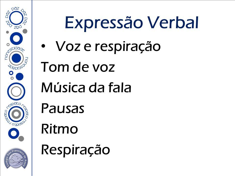 Expressão Verbal Voz e respiração Tom de voz Música da fala Pausas