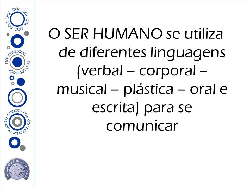 O SER HUMANO se utiliza de diferentes linguagens (verbal – corporal – musical – plástica – oral e escrita) para se comunicar