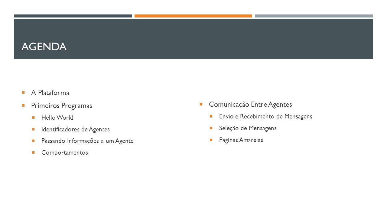 Agenda A Plataforma Primeiros Programas Comunicação Entre Agentes